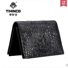 tihinco 2017 new hot free shipping Business vertical section crocodile men purple small wallet multi-function short men bag