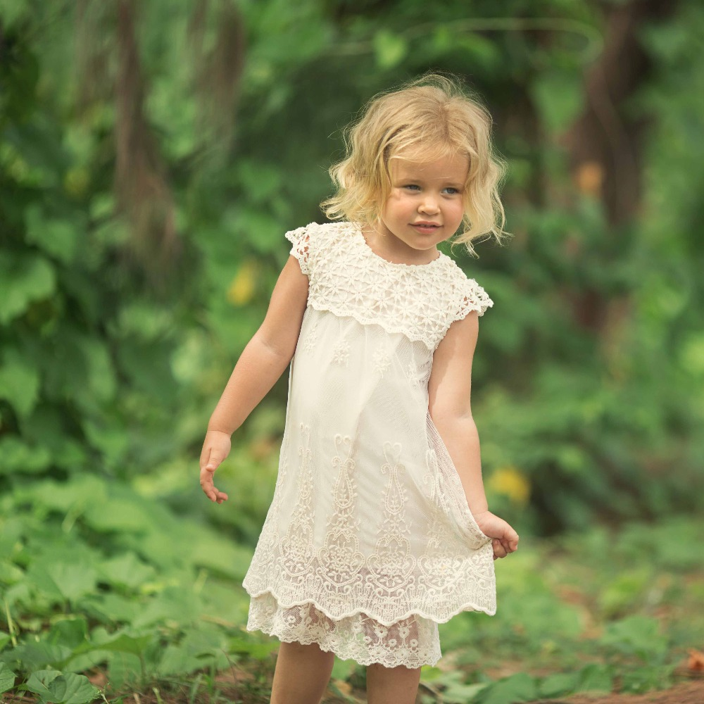 New Girls Summer Evening Dress Children Hollow Embroidered Lace Princess Baby Girl Age 3t-12 Party Dresses Kids Fashion Clothes 2018 summer new girls clothing lace mesh splicing baby dresses for girl party princess dress fashion petal kids girls dresses