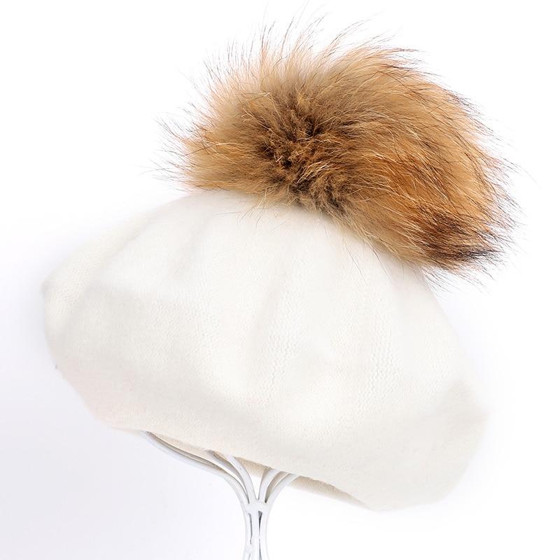 Берет художника, уличные шапки художника, осень и зима, новые теплые вязаные однотонные кепки, модный мех енота, помпон, берет в стиле винтаж - Цвет: White