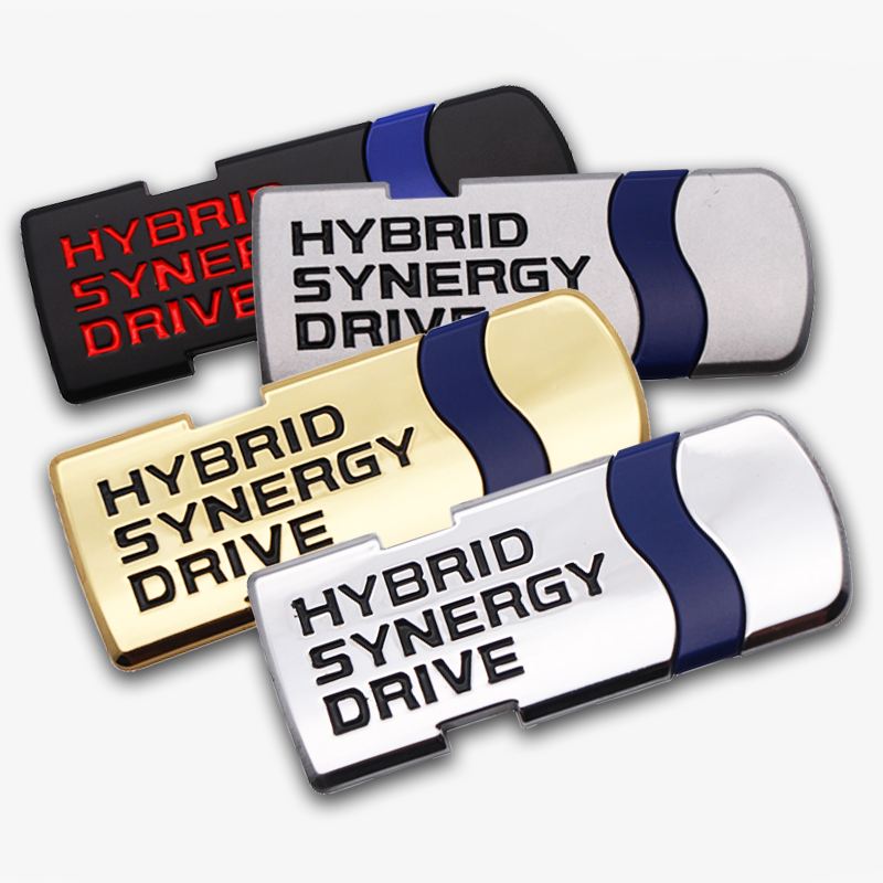 3D Car Styling Hybrid Synergy Drive Metal Car Stickers Emblem Auto Badge Decal For Toyota Prius Camry Crown Auris Rav4s Car