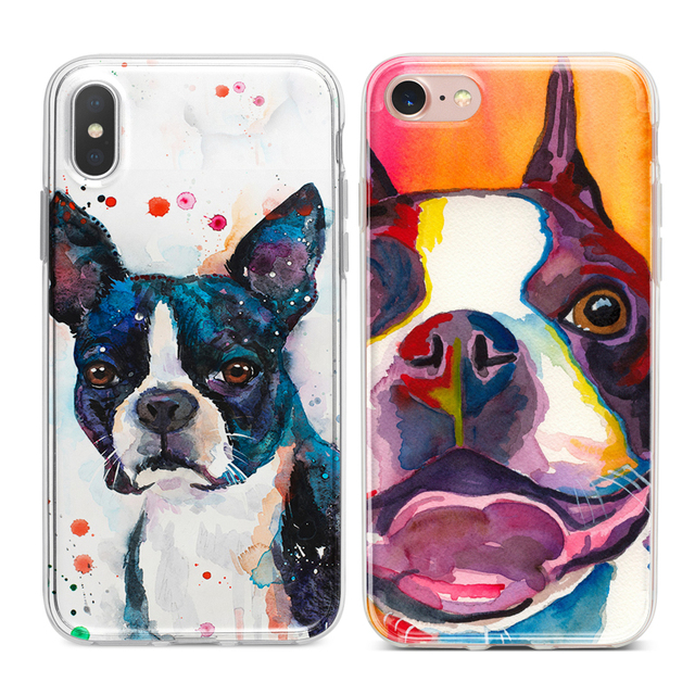 cba0a860361 Watercolor Boston Terrier Dog Coque Soft Silicone Phone Cases for iPhone XS  Max XR 7 8 6 6S Plus 5S 5 SE 5C 4S 4 iPod Touch 6 5.