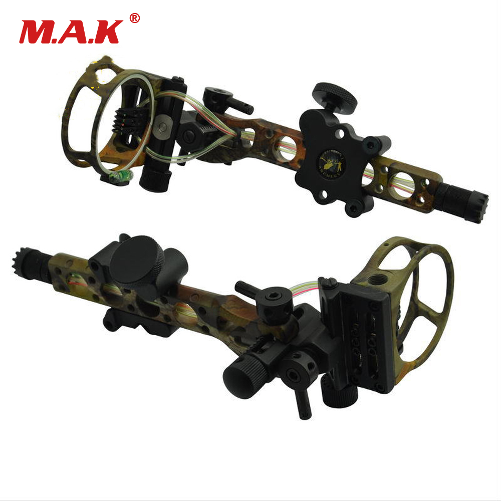 Compound Bow Sight 7 Pins 0.019 with Micro Adjust Detachable Bracket Sight TP7570-CAMO for Compound Bow Hunting Archery 4 color compound bow sight 1 pin 0 019 with quickly adjust detachable bracket tp9510 camo for hunting shooting archery