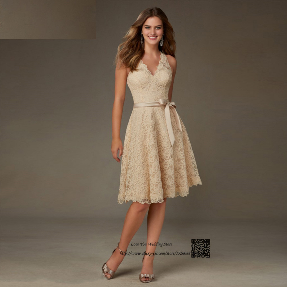 Champagne lace bridesmaid dresses 2016 v neck knee length for Inexpensive short wedding dresses