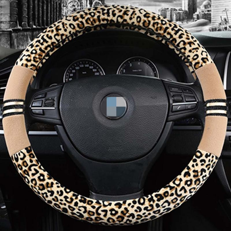 Autumn And Winter New Plush Auto Car Steering Wheel Cover Leopard Fashion Steering Wheel Cover Car-styling(China)