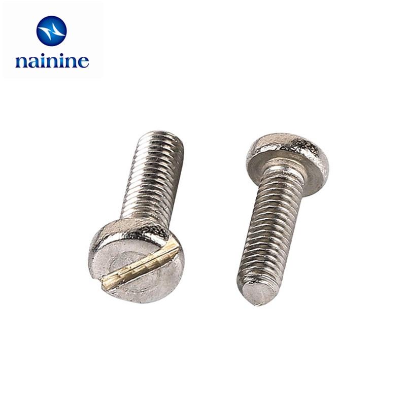 50Pcs M3 DIN85 GB67 304 Stainless Steel Slotted Pan Screws Slotted Grooving Screw HW066 niko 50pcs chrome single coil pickup screws
