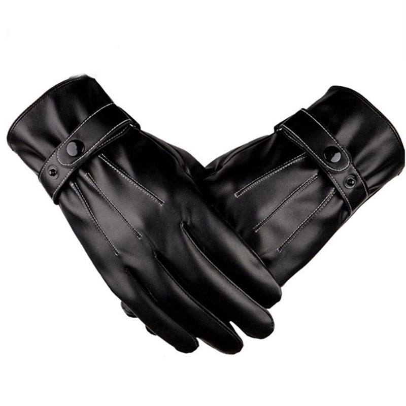 Winter Thermal Warm PU Leather Gloves Fleece Lined Mittens For Men Women Touch Screen Windproof Gloves