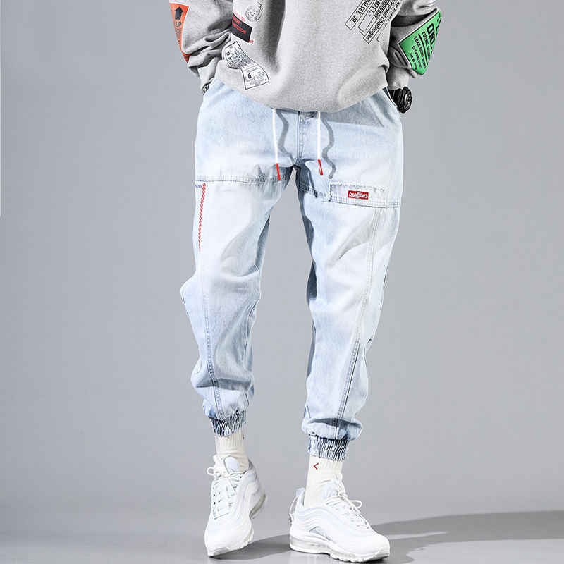 Hip Hop Streetwear Harem Jeans Pants Men Loose Joggers Denim Casual Sweatpants Korea Ankle length Trousers