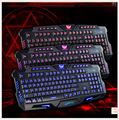 3 colors LED backlight computer keyboard wired with USB port professional PC game keyboard