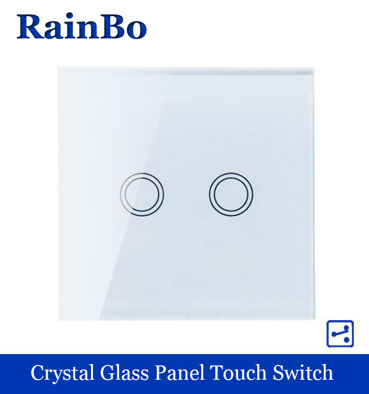 RAINBO Touch Switch Screen  Crystal Glass Panel wall switch EU Standard 110~250V Wall Light Switch 2gang2way LED lamp A1922XW/B rainbo touch switch screen crystal glass panel wall switch eu standard 110 250v wall light switch 2gang2way led lamp a1922xw b