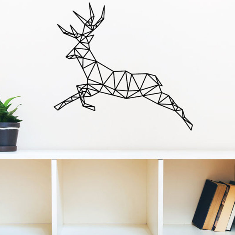 Home Art Decor Wall Decals ~ Geometric deer wall stickers home decor living room