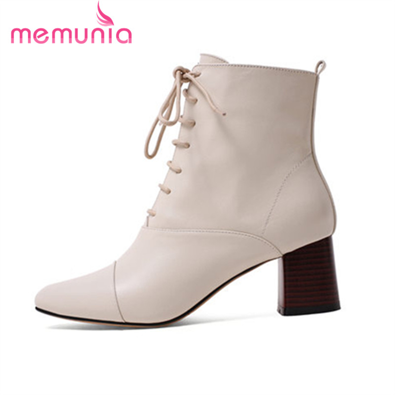 MEMUNIA 2018 New fashion mid calf boots genuine leather boots autumn winter frenulum high heels pointed toe bootsMEMUNIA 2018 New fashion mid calf boots genuine leather boots autumn winter frenulum high heels pointed toe boots