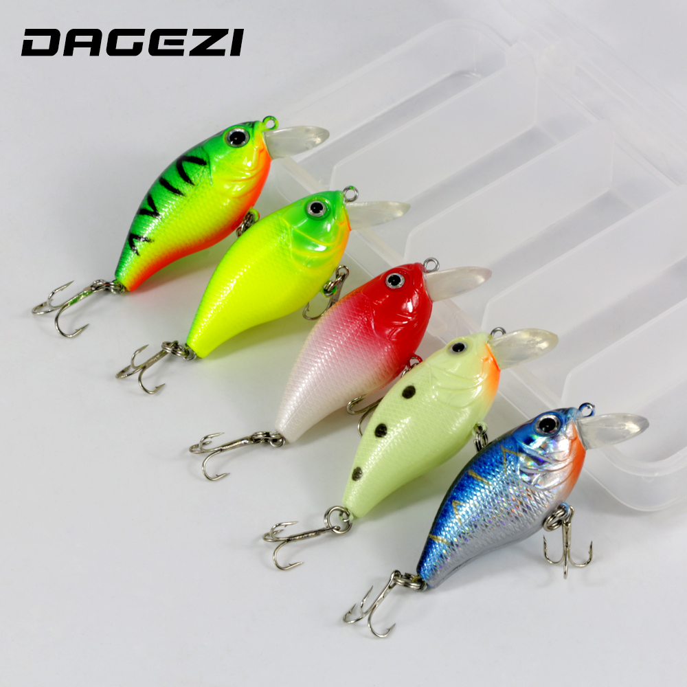 DAGEZI 5pcs/lot with box 3D hard fishing bait 7g/5.5cm High Quality Fishing lure 6# Hook Diving Depth 1.2m-2.7m fishing tackle fishing tackle box for storage bait hook with a waist belt