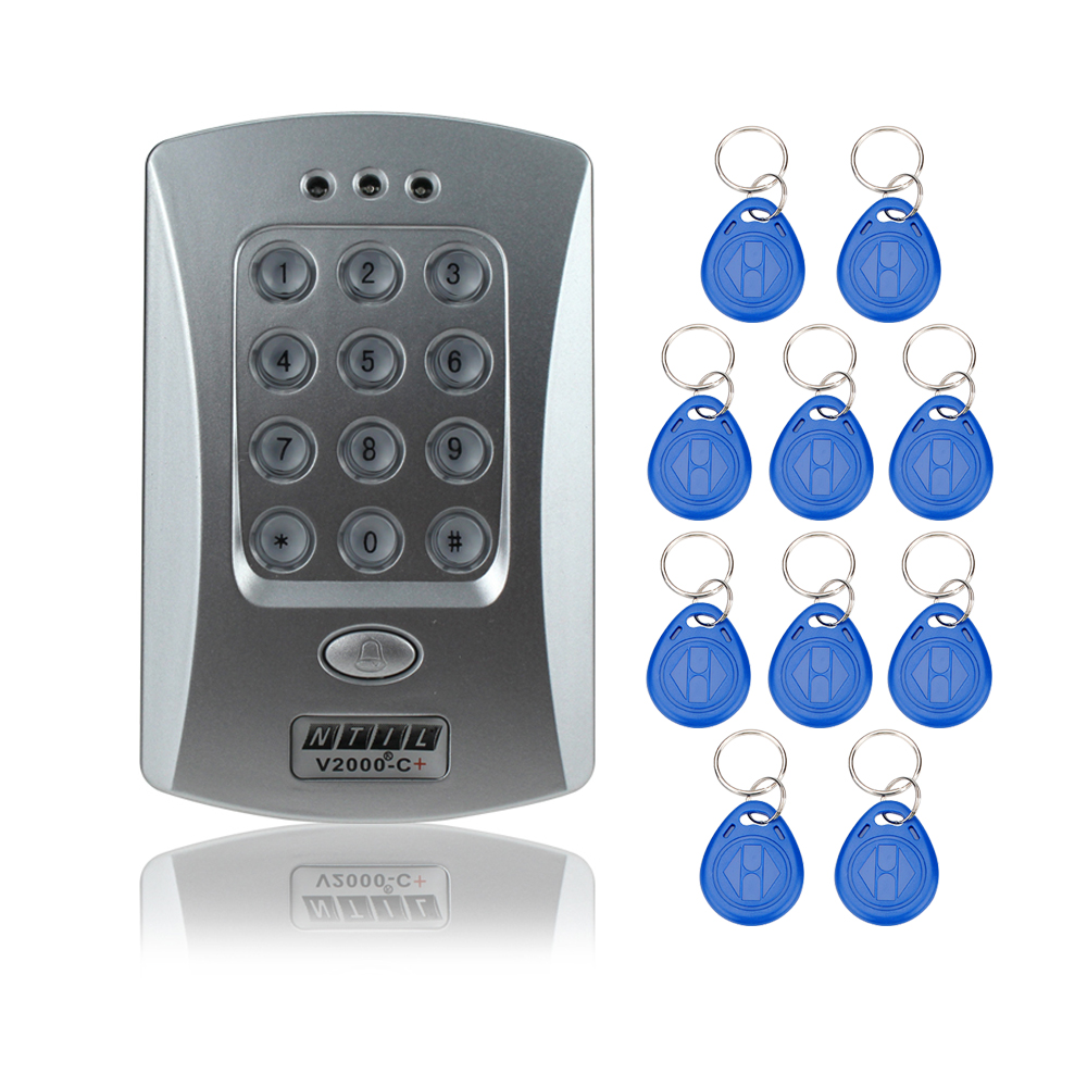 V2000-C RFID card reader keypad controller for access control door locks system support extra reader 1000 users digital locks wg input rfid em card reader ip68 waterproof metal standalone door lock access control with keypad support 2000 card users