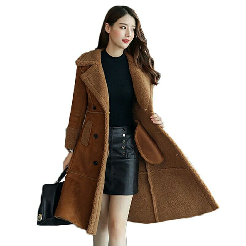 Long Faux Sheepskin Coat 2019 Winter Fashion Women Leather Suede Jacket Clothing Warm Ladies Faux Sheepskin Lamb women wool coat