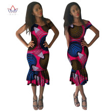 BRW 2017 Autumn Africa Dresses For Women Dashiki Africa Fashion Dress Bazin Riche Africa Wax Print Dresses Africa Clothing WY576