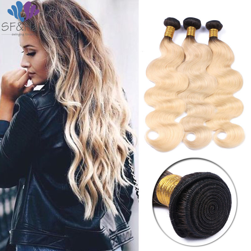 #T1B/613 Ombre Bundles Platinum Blonde Two Tone Body Wave Bundles 3Pcs Human Hair Extensions 8A Grade Ombre Brazilian Hair
