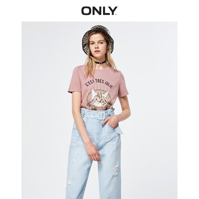 רק 2019 אביב הקיץ חדש נשים של Loose Fit עגול מחשוף קצר שרוולים חולצה | 119101630