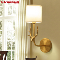 American Full Copper Deer Head Wall Lamps For Reading Bedroom Bedside appliques mural interieur Lighting Corridor Lamp