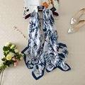 [Visual Eixos] Puro Lenço De Seda De Luxo Mulheres Marca Longo Estampado Floral Real Lenços De Seda 180*90 cm