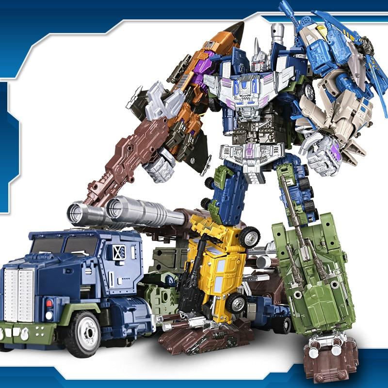 High Quality G1 YX Bruticus Members ONSLAUGHT Blastoff Vortex Brawl Swindle 5IN1 Transformation Alloy X9 Enlarge KO Figure Toys