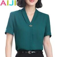 חולצת שיפון צווארון v שרוול קצר רשמי אופנה נשים OL הקיץ loose מקרית חולצה גבירותיי חולצות משרד בתוספת גודל ירוק ורוד