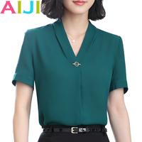 V Neck Chiffon Shirt Women OL Summer Fashion Formal Short Sleeve Casual Loose Blouse Ladies Office