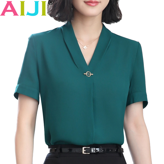 66bb442b94b v-neck chiffon shirt women OL Summer fashion formal short sleeve Casual  loose blouse ladies office plus size tops green pink