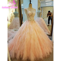 Vestidos De Noiva 2017 New Pink Bridal Gowns Vintage Wedding Dress Ball Gown Lace Newest Draped