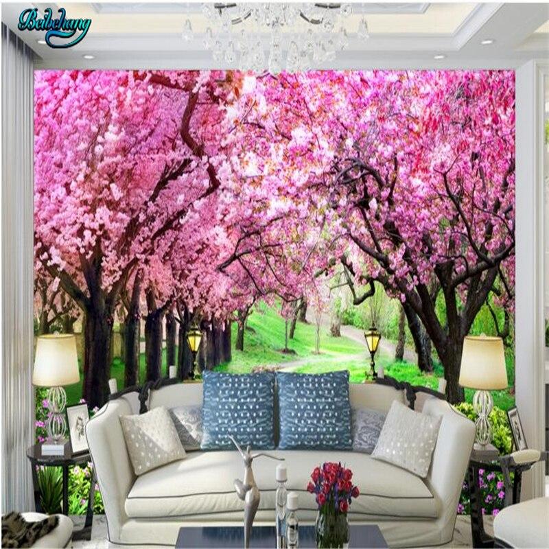 Beibehang Kirsche Baum Garten Garten Straße Landschaft Hintergrund Wand  Nach Lounge Sofa Sofa Dekoration Malerei In Beibehang Kirsche Baum Garten  Garten ...