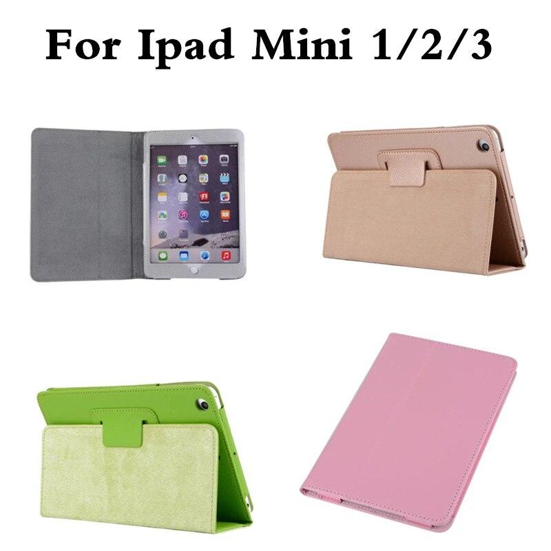 For Ipad Mini 1 2 3 Litchi Soft PU Artificial PU Leather Case Magnetic Sleep /Wake UP Flip Cover For Ipad Mini2 Mini3 Retina