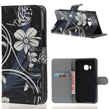 Preto / branco de impressão carteira de couro Flip capa bolsa caso para HTC um M9 2015