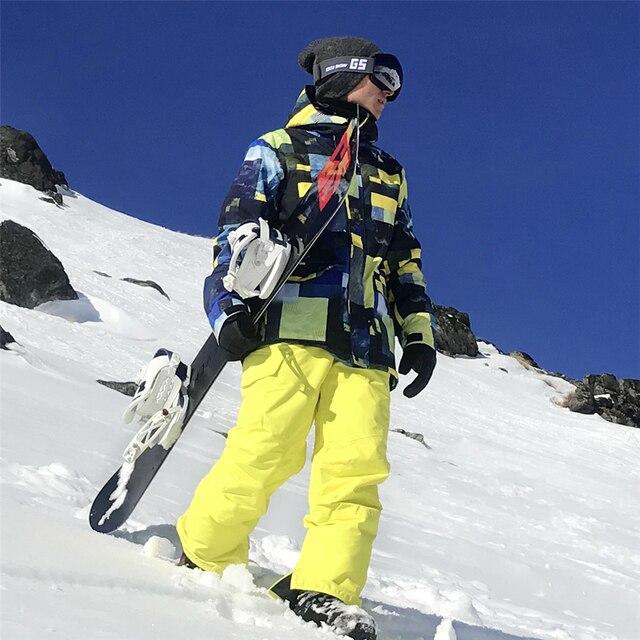SIMAINING, лыжный костюм для мужчин, куртка для горных лыж + штаны для сноуборда, водонепроницаемый, дышащий, для улицы, зимний, для сноубординга, теплый, зимний комплект
