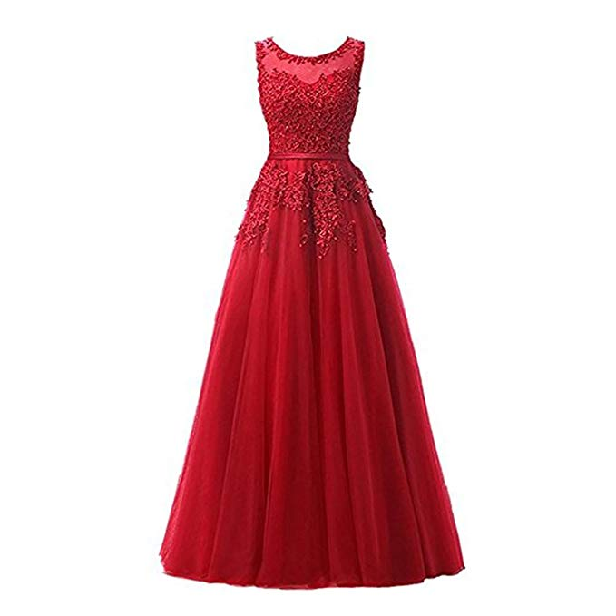 Beaded Lace Appliques Pearls Tulle Juniors Prom Evening Party Dresses Evening Gowns in Prom Dresses from Weddings Events