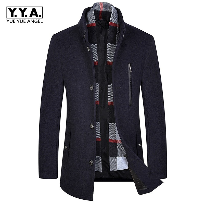 Classic Autumn Winter Thick Blends Wool Coat Lapel Collar Casual Business Men Scarf Woolen Sobretudo Long Jacket Slim Fit Trench