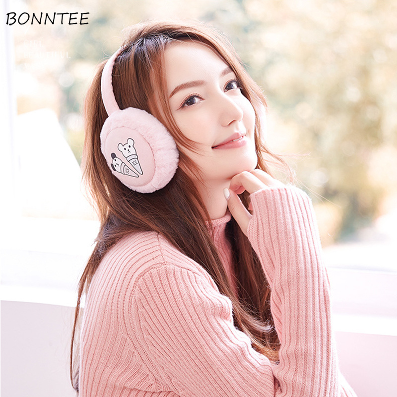 Earmuffs Unisex Elegant Cartoon High Quality Students Cute Cotton Ear Warmers Simple Classic Korean Style Winter Soft Earmuff
