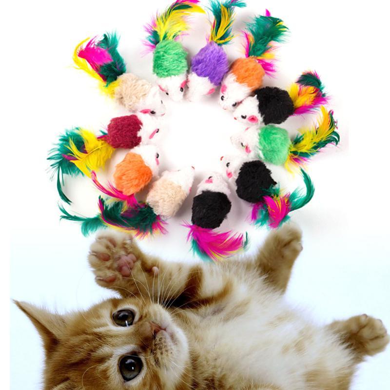 10 шт. Мягкая флисовая ложная мышь, Интерактивная игрушка для кошки в виде шара, кошачий мышка, цветное перо, забавные игрушки для кошек и котят