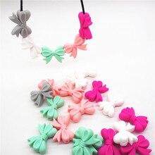 Chenkai 1000 pçs bpa livre silicone bowknot mordedor contas diy bebê dentição montessori sensorial jóias brinquedo laço acessórios
