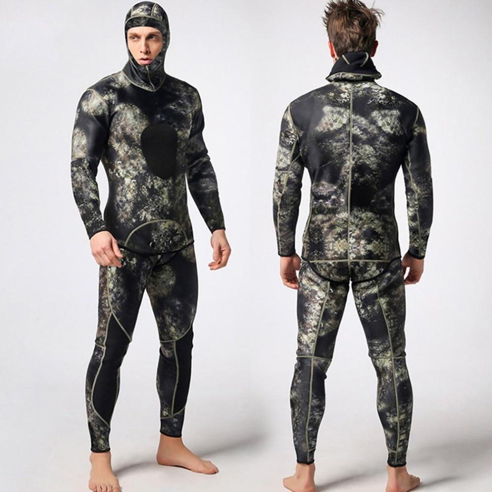 2 pcs Hommes Combinaison De Plongée En Néoprène 3mm Combinaison de Chasse Surf Plongée Maillot De Bain Split Plongée Surf Camouflage Vêtements