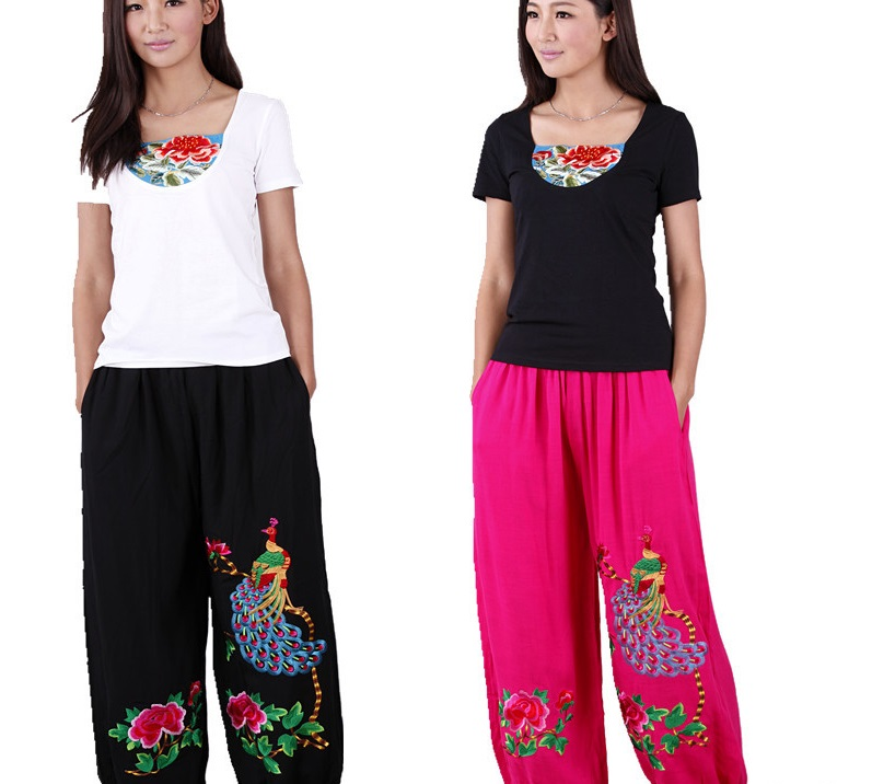Factory direct wholesale Ethnic pants poplin Linen peacock Large size Pants Chinese Traditional Flower embroidered trousers