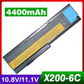 4400 mah batería del ordenador portátil para lenovo thinkpad x200 7454 7455 7458x200 s 7465 x200si x201 x201s x201i x201-3323 42t4837 42t4649