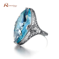 jewelry Royal Vintage Exaggerated Rings Big Oval Sky Bule Stone Fashion Real 925 Sterling Silver Cocktail Ring For Women Party