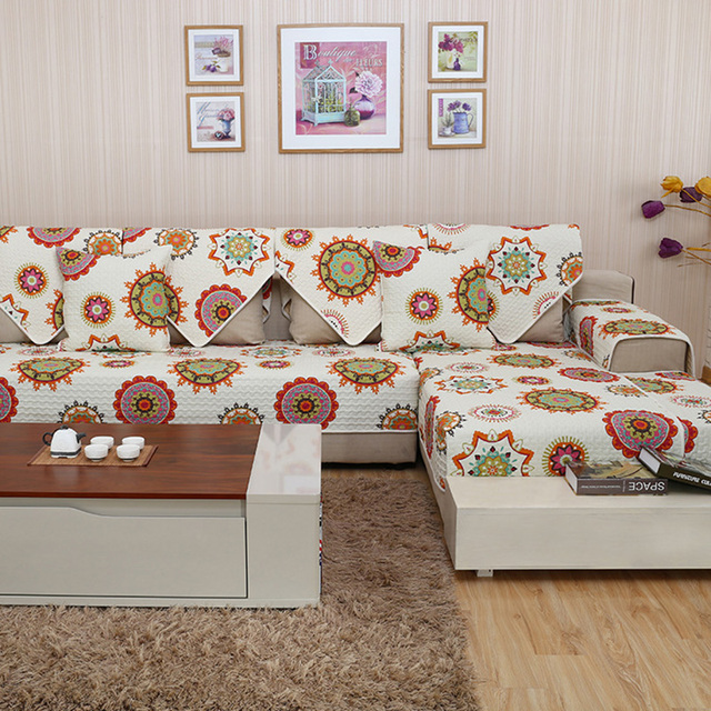 Colorful Endless Dot Sectional Futon Cotton Slipcovers For Couches With 3  Cushions Sure Fit Sofa Covers