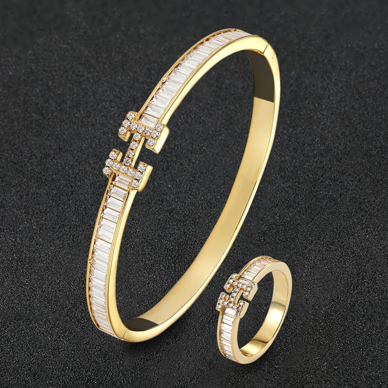 Zlxgirl Luxury Brand AAA cubic Zircon letter bangle with ring jewelry sets metal copper micro pave setting bangle sets free bags-in Jewelry Sets from Jewelry & Accessories