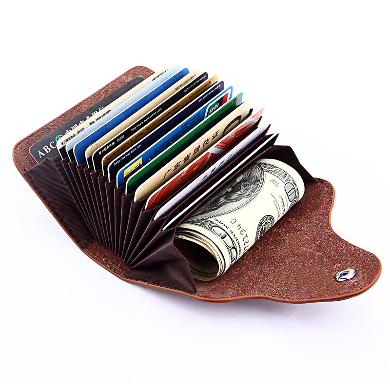 genuine cow leather women business card holder 13 card slot ladies card wallet 6 solid colors card case unisex credit cardholder - Women Business Card Holders