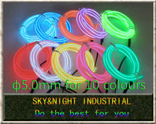 High brightness 5.0mm Neon light / EL Wire/Led Flexible Light 60M (Ten colors option) do not including invertewith Free shipping