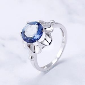 Image 2 - Gems Ballet 2.74Ct Natuurlijke Ioliet Blue Mystic Quartz Bloem Ring 925 Sterling Zilveren Verlovingsring Voor Vrouwen Fijne Sieraden