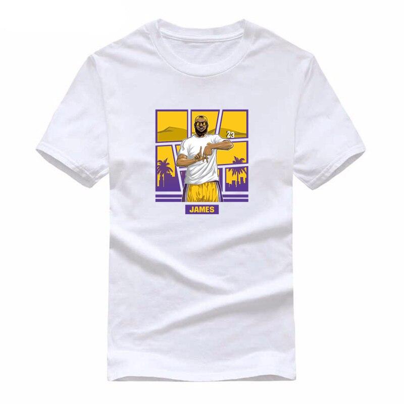 Engraçados dos homens Superstar Lebron LA design De Impressão T-shirts Mulheres Verão Dos Desenhos Animados Los Angeles LA James Camiseta de Fitness Unissex top Tee