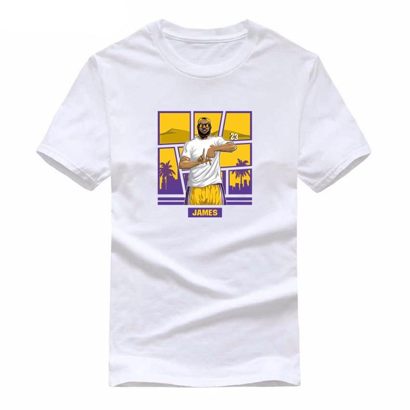 Hommes Drôle de Superstar Lebron LA conception Impression T-shirts Femmes D'été de Bande Dessinée Los Angeles LA James tee-shirt Unisexe top de fitness Tee
