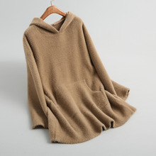 Shuchan 2018 Women Fall Fashion Casual Hooded Thick Warm Three Quarter Sleeve Pockets Pullovers Sweater Winter 18011