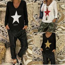 Long Sleeve Women Autumn Spring T-shirt Tops Star Printed Ladies Fashion Women T